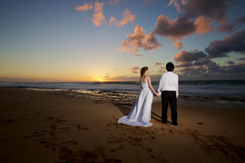 Molokai Sunset Wedding Couple